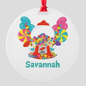 Custom Name Candyland Birthday Round Ornament