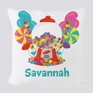 Custom Name Candyland Birthday Woven Throw Pillow