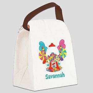 Custom Name Candyland Birthday Canvas Lunch Bag