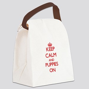 Keep Calm and Puppies ON Canvas Lunch Bag