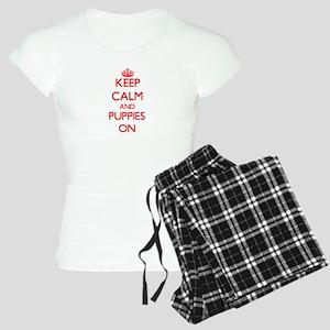 Keep Calm and Puppies ON Women's Light Pajamas