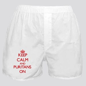 Keep Calm and Puritans ON Boxer Shorts