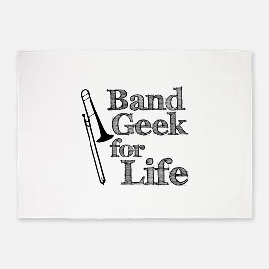 Trombone Band Geek 5'x7'Area Rug