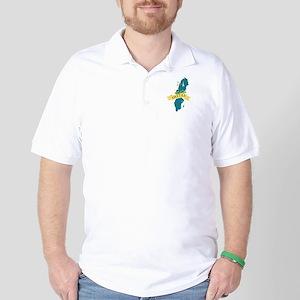 Sweden Country Map Linnea Flower Golf Shirt