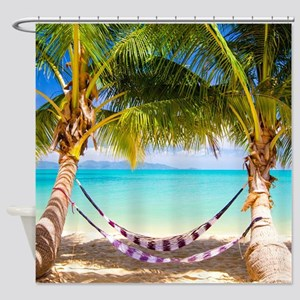 Hammock on Tropical Beach Shower Curtain