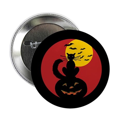 """Black Cat w/ Moon 2.25"""" Button (100 pack)"""