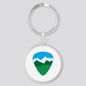 Mountain guitar pick Keychains