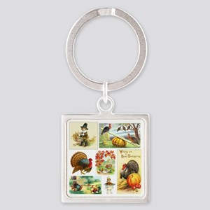 Thanksgiving Vintage Medley Square Keychain