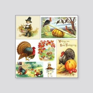 "Thanksgiving Vintage Medley Square Sticker 3"" x 3"""