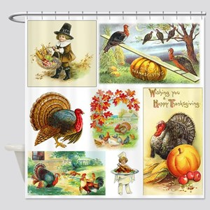 Thanksgiving Vintage Medley Shower Curtain