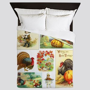 Thanksgiving Vintage Medley Queen Duvet