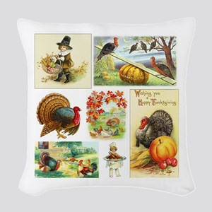 Thanksgiving Vintage Medley Woven Throw Pillow