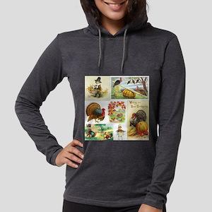Thanksgiving Vintage Medley Womens Hooded Shirt