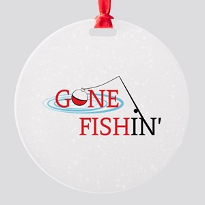 Gone fishing bobber and fishing pole Ornament