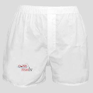 Gone fishing bobber and fishing pole Boxer Shorts
