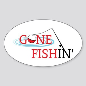 Gone fishing bobber and fishing pole Sticker