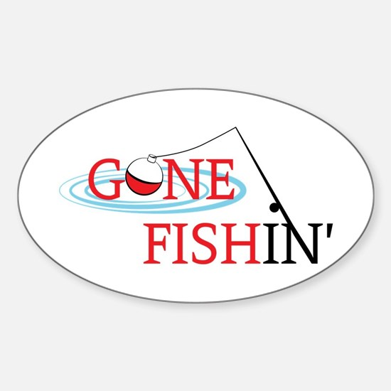 Gone fishing bobber and fishing pole Decal