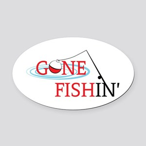 Gone fishing bobber and fishing pole Oval Car Magn