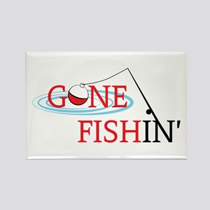 Gone fishing bobber and fishing pole Magnets