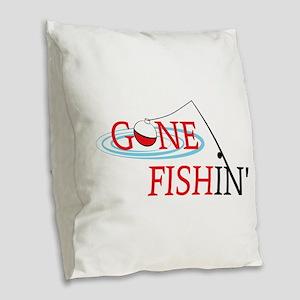 Gone fishing bobber and fishing pole Burlap Throw
