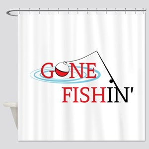 Gone fishing bobber and fishing pole Shower Curtai