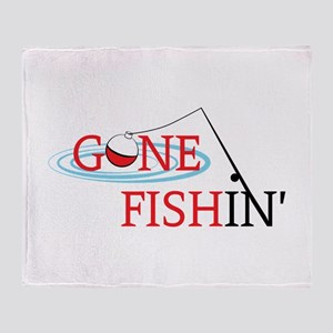 Gone fishing bobber and fishing pole Throw Blanket