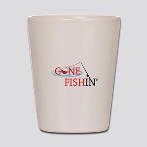 Gone fishing bobber and fishing pole Shot Glass