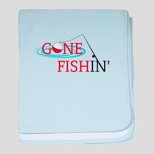 Gone fishing bobber and fishing pole baby blanket