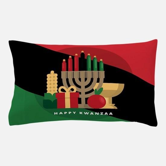 diagonal stripe Happy Kwanzaa Pillow Case