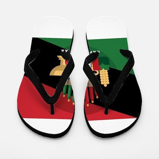 diagonal stripe Happy Kwanzaa Flip Flops