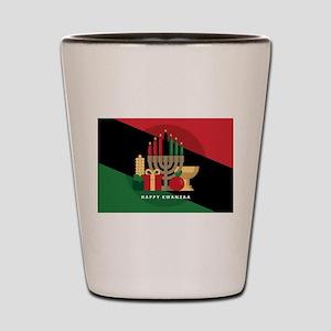 diagonal stripe Happy Kwanzaa Shot Glass