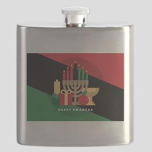 diagonal stripe Happy Kwanzaa Flask