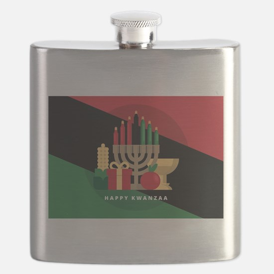 diagonal stripe Happy Kwanzaa Flask