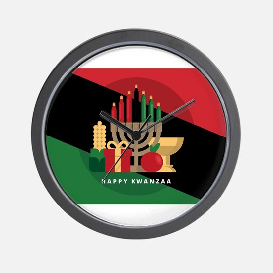 diagonal stripe Happy Kwanzaa Wall Clock