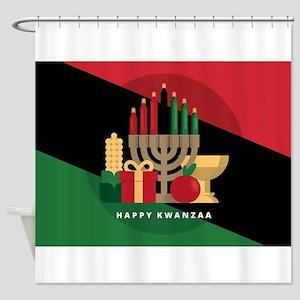 diagonal stripe Happy Kwanzaa Shower Curtain