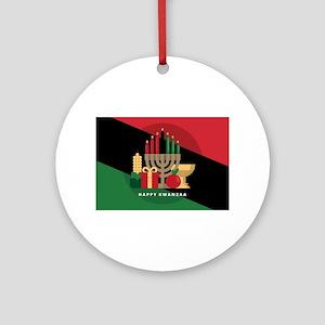 diagonal stripe Happy Kwanzaa Round Ornament