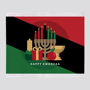 diagonal stripe Happy Kwanzaa Throw Blanket