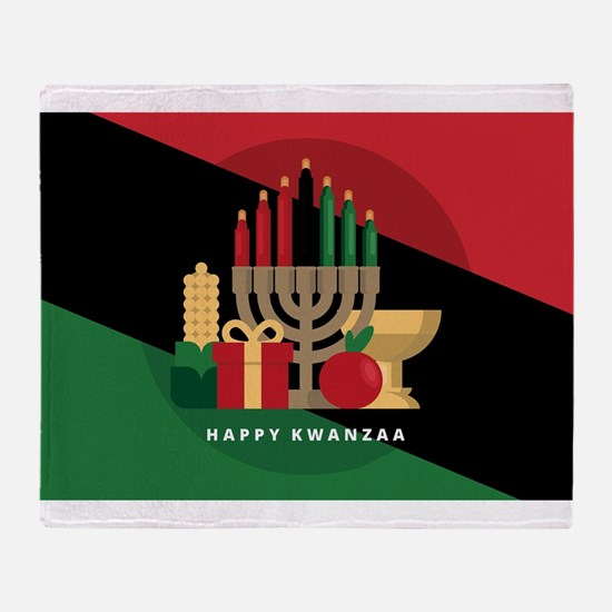diagonal stripe Happy Kwanzaa Throw Blanket