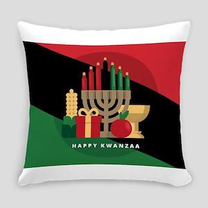 diagonal stripe Happy Kwanzaa Everyday Pillow