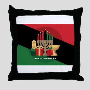 diagonal stripe Happy Kwanzaa Throw Pillow