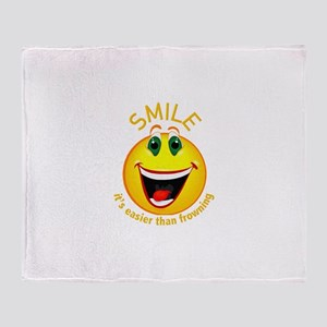 Smile! It's Easier than Frowning Throw Blanket