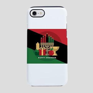 diagonal stripe Happy Kwanzaa iPhone 7 Tough Case
