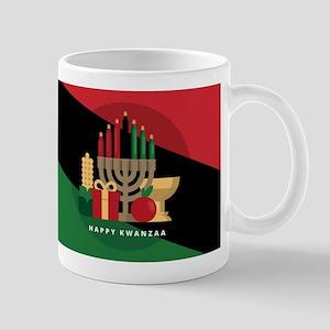 diagonal stripe Happy Kwanzaa Mugs