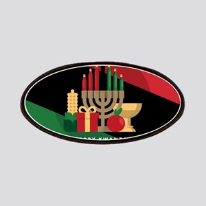 diagonal stripe Happy Kwanzaa Patch