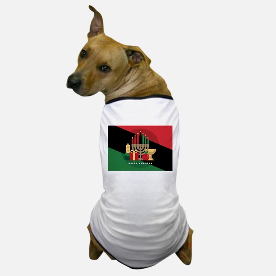 diagonal stripe Happy Kwanzaa Dog T-Shirt