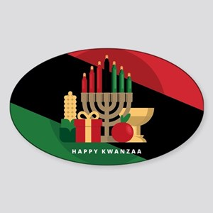 diagonal stripe Happy Kwanzaa Sticker