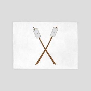 Marshmallows on sticks 5'x7'Area Rug