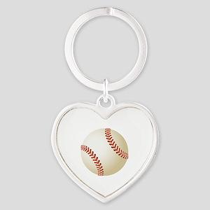 Baseball Ball Heart Keychain