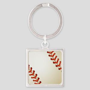 Baseball Ball Square Keychain
