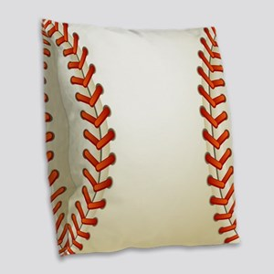 Baseball Ball Burlap Throw Pillow